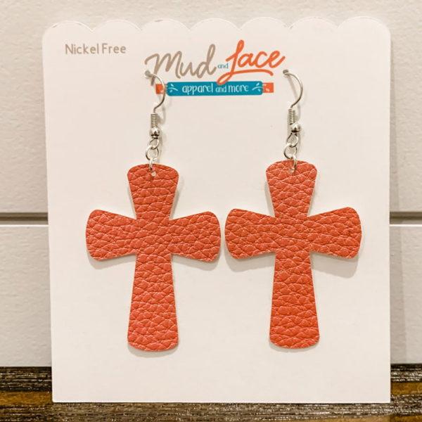 Easter Coral Single Cross Earrings