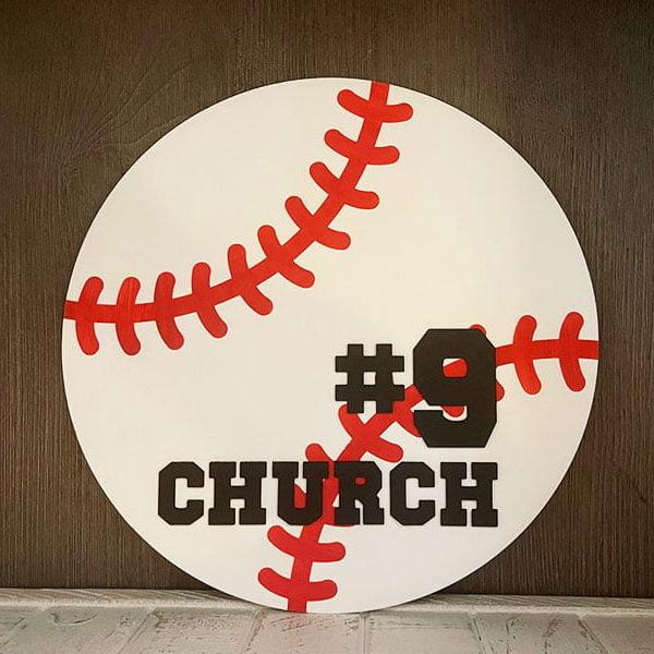 Personalized Round Wood Baseball Sign