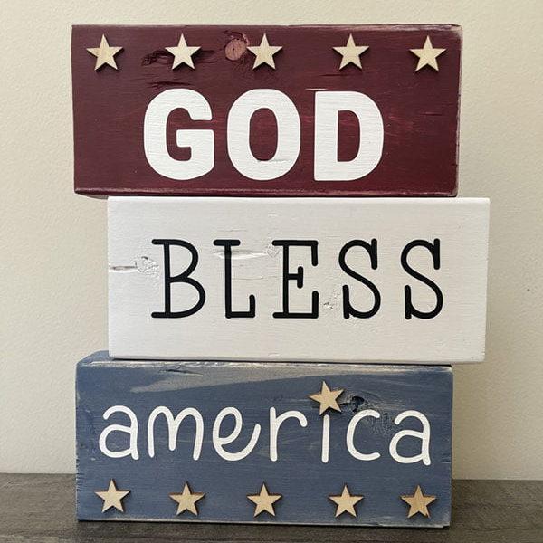 God Bless America Wood Blocks