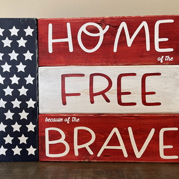 Home of the Free because of the Brave Wood Blocks