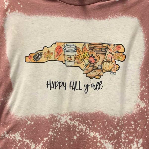 Bleached Shirt Happy Fall Y'all