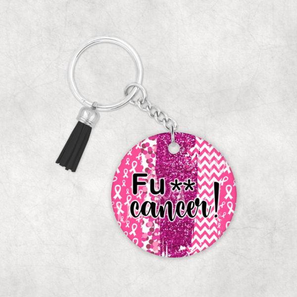 FU Cancer! Breast Cancer Awareness Keychain